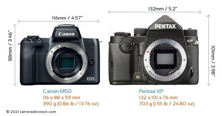 Canon M50 vs Pentax KP Camera Size Comparison - Front View