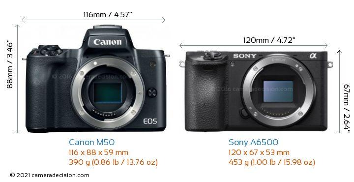 Canon M50 vs Sony A6500 Camera Size Comparison - Front View