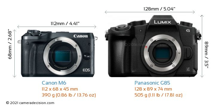 Canon M6 vs Panasonic G85 Camera Size Comparison - Front View