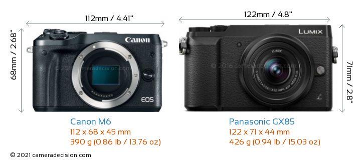 Canon M6 vs Panasonic GX85 Camera Size Comparison - Front View
