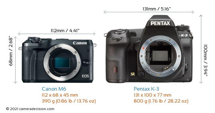 Canon M6 vs Pentax K-3 Camera Size Comparison - Front View