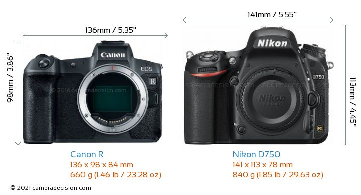 Canon R vs Nikon D750 Camera Size Comparison - Front View