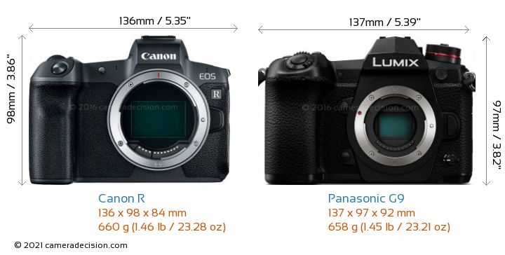 Canon R vs Panasonic G9 Camera Size Comparison - Front View