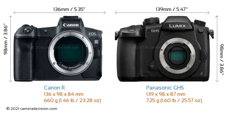 Canon R vs Panasonic GH5 Camera Size Comparison - Front View