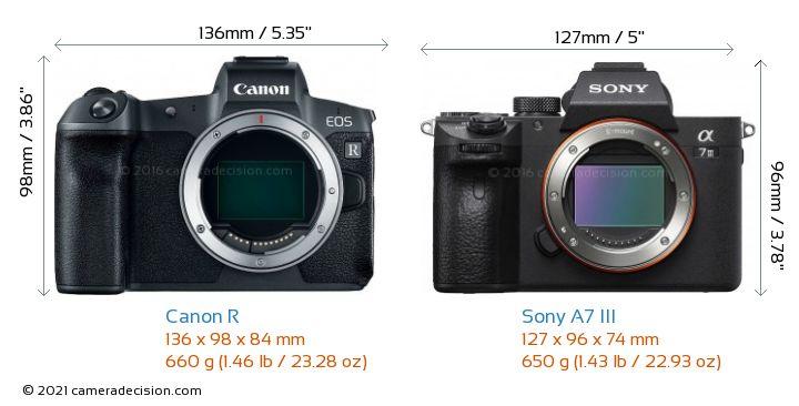 Canon R vs Sony A7 III Camera Size Comparison - Front View
