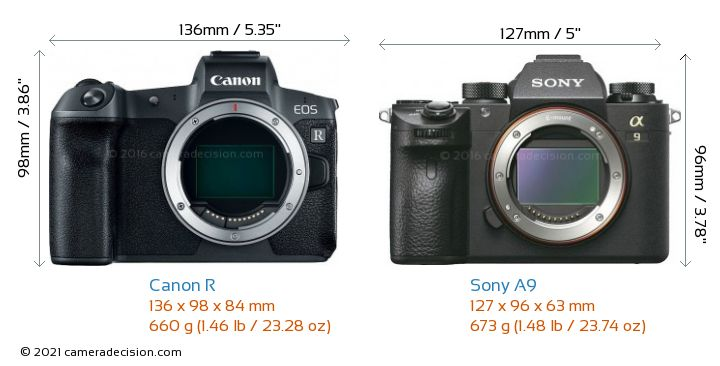 Canon R vs Sony A9 Camera Size Comparison - Front View