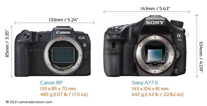 Canon RP vs Sony A77 II Camera Size Comparison - Front View