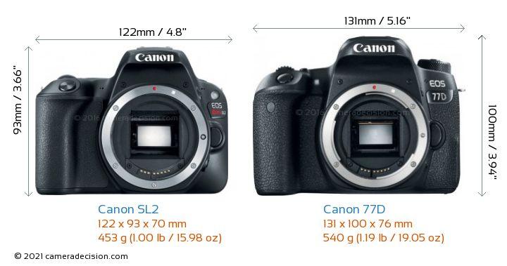 Canon SL2 vs Canon 77D Camera Size Comparison - Front View