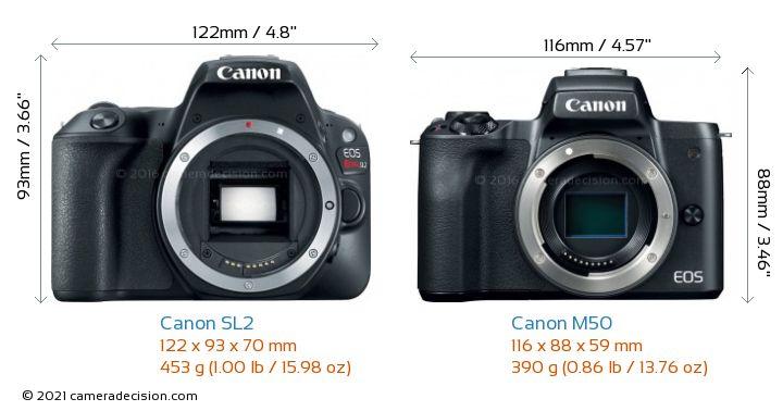 Canon SL2 vs Canon M50 Camera Size Comparison - Front View