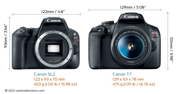 Canon SL2 vs Canon T7 Camera Size Comparison - Front View