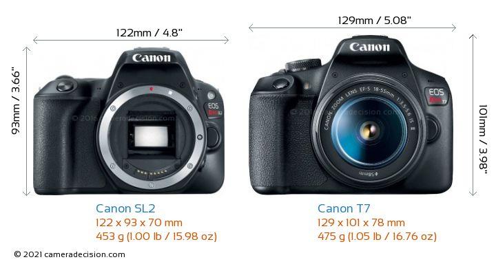Canon SL2 vs Canon T7 Camera Size Comparison - Front View
