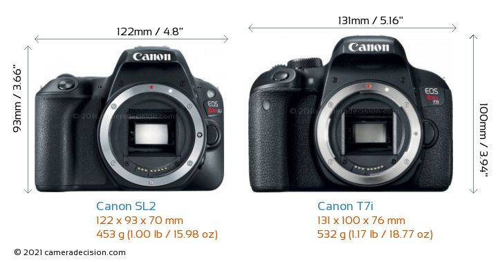 Canon SL2 vs Canon T7i Camera Size Comparison - Front View