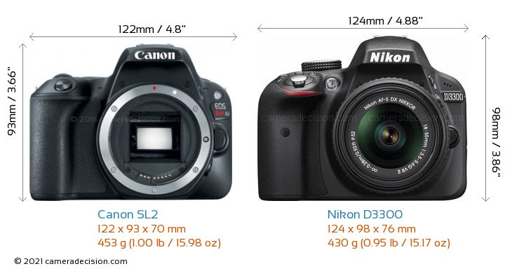 Canon SL2 vs Nikon D3300 Camera Size Comparison - Front View