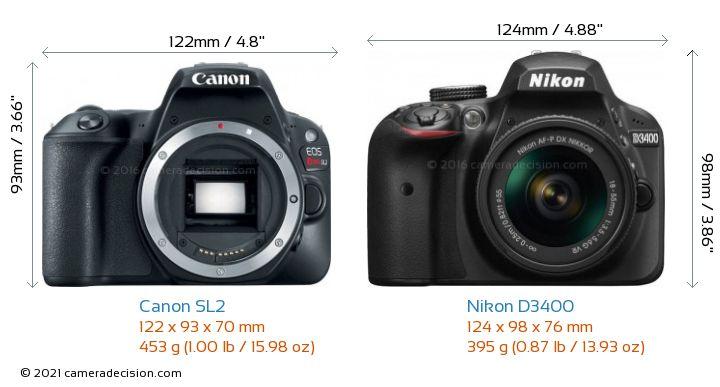 Canon SL2 vs Nikon D3400 Camera Size Comparison - Front View