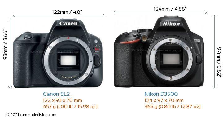 Canon SL2 vs Nikon D3500 Camera Size Comparison - Front View