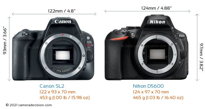 Canon SL2 vs Nikon D5600 Camera Size Comparison - Front View