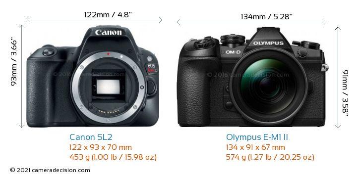 Canon SL2 vs Olympus E-M1 II Camera Size Comparison - Front View