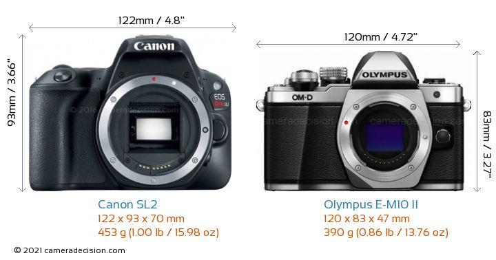 Canon SL2 vs Olympus E-M10 II Camera Size Comparison - Front View