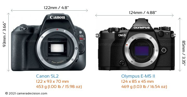 Canon SL2 vs Olympus E-M5 II Camera Size Comparison - Front View