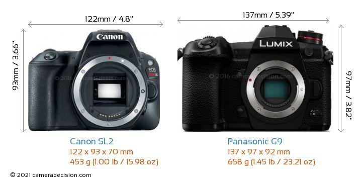 Canon SL2 vs Panasonic G9 Camera Size Comparison - Front View