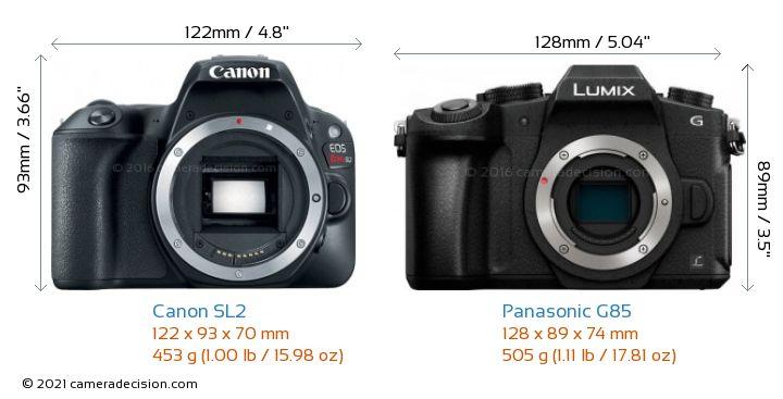 Canon SL2 vs Panasonic G85 Camera Size Comparison - Front View