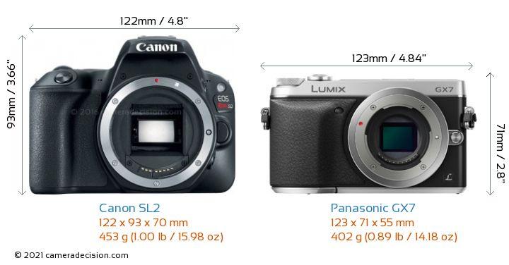 Canon SL2 vs Panasonic GX7 Camera Size Comparison - Front View