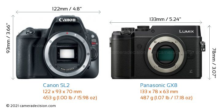 Canon SL2 vs Panasonic GX8 Camera Size Comparison - Front View
