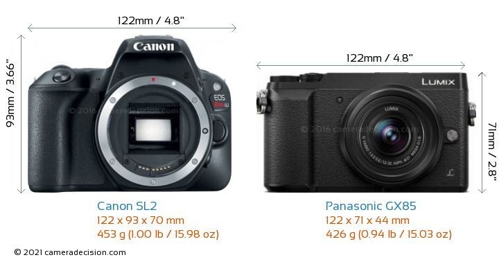 Canon SL2 vs Panasonic GX85 Camera Size Comparison - Front View