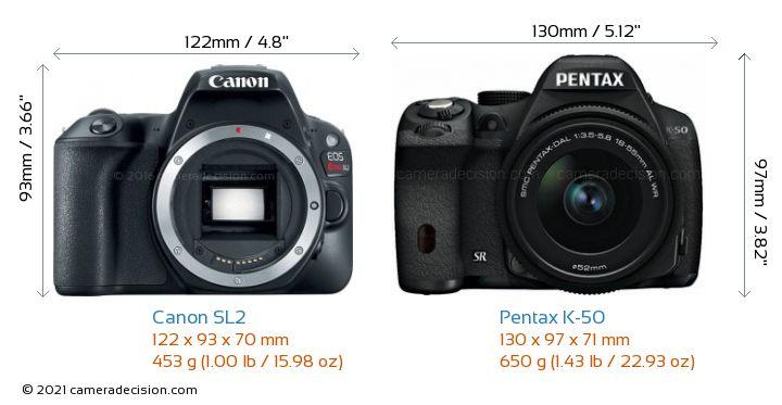 Canon SL2 vs Pentax K-50 Camera Size Comparison - Front View