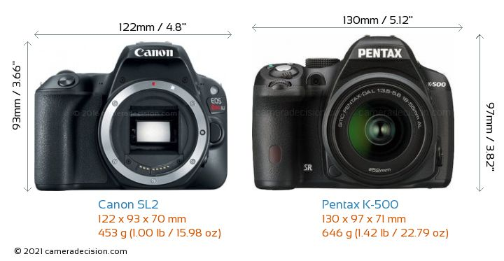 Canon SL2 vs Pentax K-500 Camera Size Comparison - Front View