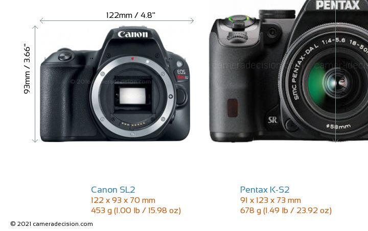 Canon SL2 vs Pentax K-S2 Camera Size Comparison - Front View