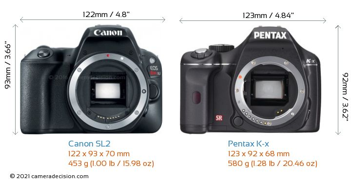 Canon SL2 vs Pentax K-x Camera Size Comparison - Front View