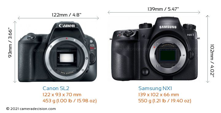 Canon SL2 vs Samsung NX1 Camera Size Comparison - Front View