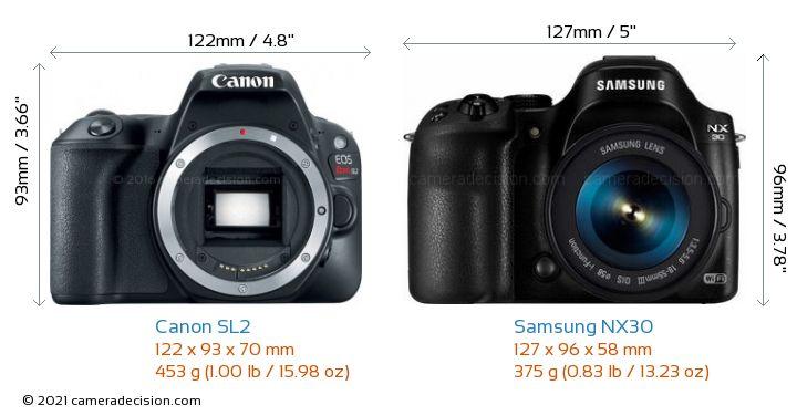 Canon SL2 vs Samsung NX30 Camera Size Comparison - Front View