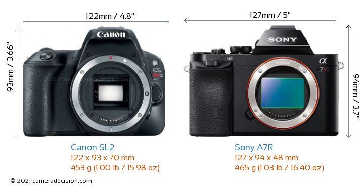 Canon SL2 vs Sony A7R Camera Size Comparison - Front View
