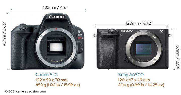Canon SL2 vs Sony A6300 Camera Size Comparison - Front View