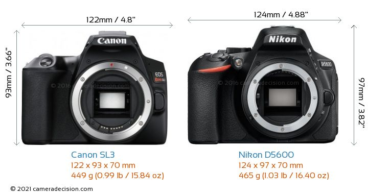Canon SL3 vs Nikon D5600 Camera Size Comparison - Front View