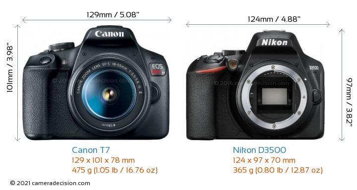 Canon T7 vs Nikon D3500 Camera Size Comparison - Front View