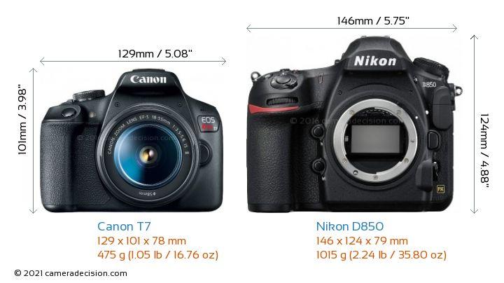 Canon T7 vs Nikon D850 Camera Size Comparison - Front View