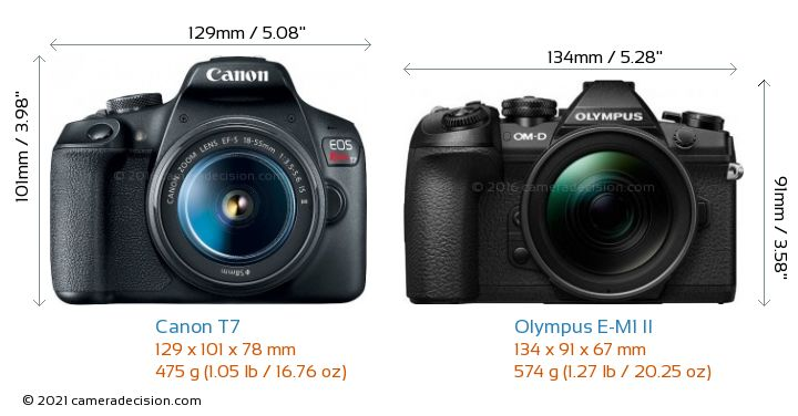 Canon T7 vs Olympus E-M1 II Camera Size Comparison - Front View