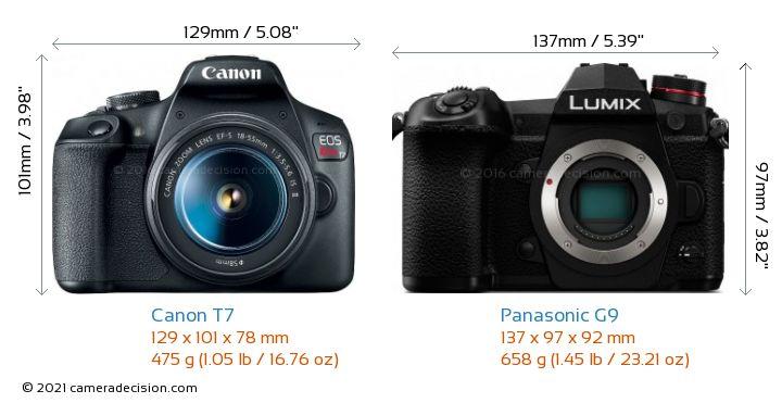 Canon T7 vs Panasonic G9 Camera Size Comparison - Front View