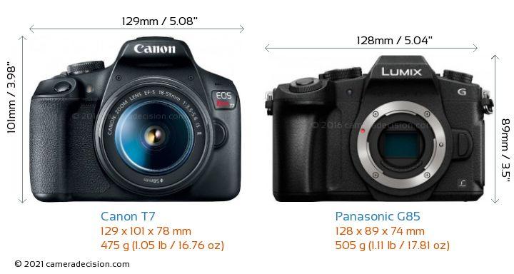 Canon T7 vs Panasonic G85 Camera Size Comparison - Front View