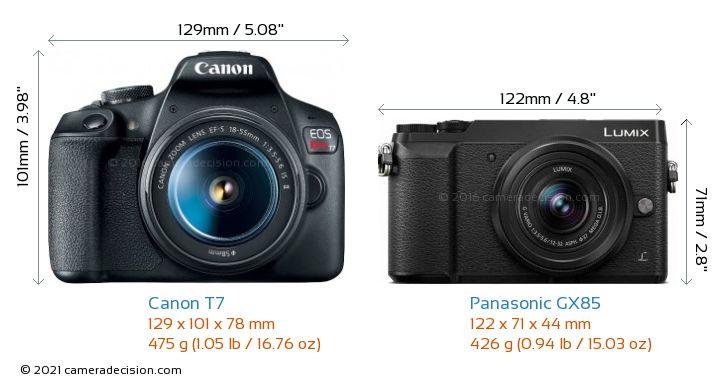 Canon T7 vs Panasonic GX85 Camera Size Comparison - Front View