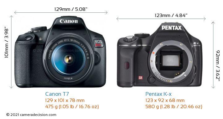 Canon T7 vs Pentax K-x Camera Size Comparison - Front View