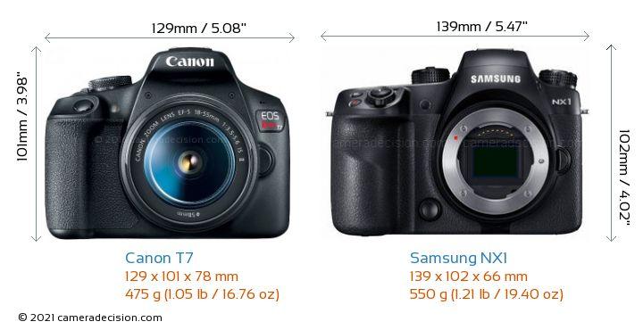 Canon T7 vs Samsung NX1 Camera Size Comparison - Front View