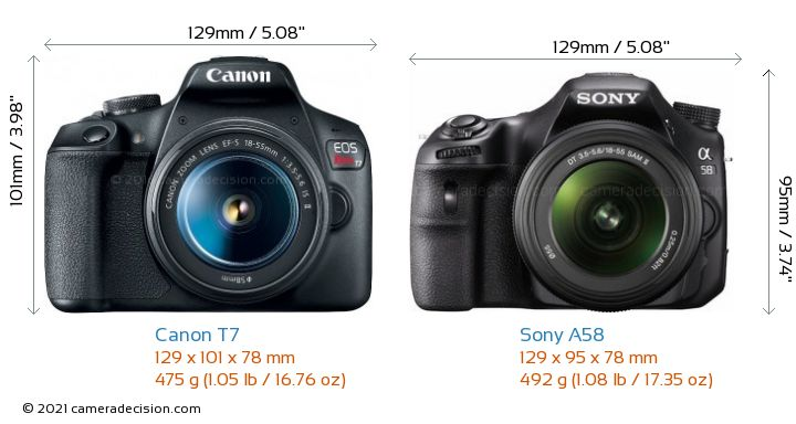 Canon T7 vs Sony A58 Camera Size Comparison - Front View