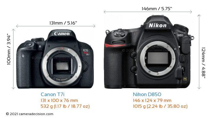 Canon T7i vs Nikon D850 Camera Size Comparison - Front View