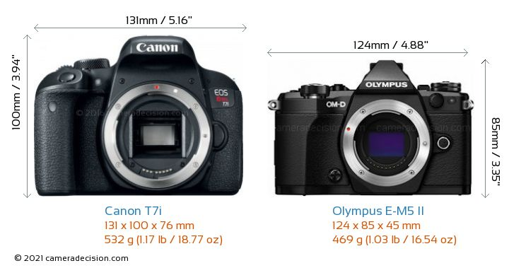 Canon T7i vs Olympus E-M5 II Camera Size Comparison - Front View