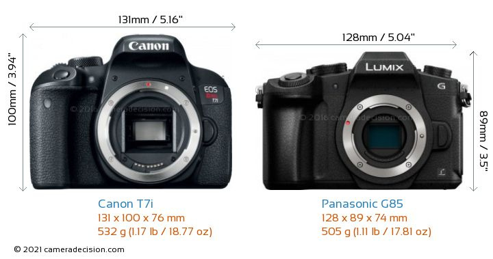Canon T7i vs Panasonic G85 Camera Size Comparison - Front View