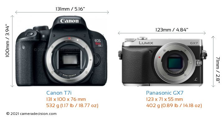 Canon T7i vs Panasonic GX7 Camera Size Comparison - Front View